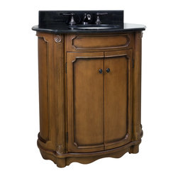 "Hardware Resources - 30-1/2"" Wide MDF Elliptical Vanity VAN025-T - This 30-1/2"" wide MDF elliptical vanity is accented with reed columns and simple carvings. The walnut finish with is created by hand, making each vanity unique. A large cabinet provides ample storage.  This vanity has a 2CM black granite top preassembled with an H8809WH (15"" x 12"") bowl, cut for 8"" faucet spread, and corresponding 2CM x 4"" tall backsplash.  Overall Measurements: 32"" x 21"" x 35-3/4"" (measurements taken from the widest point) Finish: Painted Walnut Material: MDF Style: Traditional Coordinating Mirror(s): MIR025 Bowl: H8809WH"