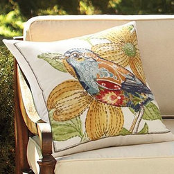 "Anna Marie Bird Outdoor Canvas Pillow, 20"" sq. - A mix of colorful patterns gives this pillow the look of beautifully detailed patchwork. Intricate embroidery adds a soft, sculptural effect. 20"" square Woven of soft, water-repellent polyester. Reverses to solid ivory. Spot clean. Imported. Internet Only."