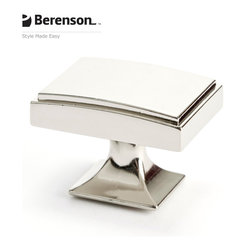4142-1014-P  Polished Nickel Knob by Berenson Hardware - Polished Nickel knob. Return to glamor with Polished Nickel, a rich metallic finish that coordinates well with many faucets and fixtures. This finish is ideal for achieving a high end look in traditional or transitional style kitchens and baths.