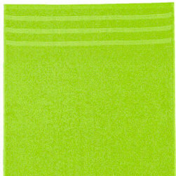 Green Cotton Bath Towels - Beautiful soft, absorbent 100% cotton bath towels with well crafted edge finishes and a delicate end border design.  Designed and produced in Germany. Machine wash and dry. Our colored cotton bath towels are coordinated options for many of the rugs in our collection. Our approach is use bath towels to accent and bring together the beautiful colors our rugs with the color palette of your room. We are happy to help so feel free to call or email us. 1-800-895-2116.