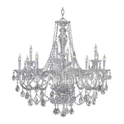 """Quorum International - Quorum International 665-12 Twelve Light Up Lighting Two Tier Chandelier - Twelve Light Up Lighting Two Tier Chandelier from the Bohemian Marien CollectionThe great dressed chandeliers of the late Georgian period in England, of which the Bohemian-Marien chandeliers are a superb example, were the height of luxury at the time, being both very expensive and intricate in their production. After their installation, the work involved in maintaining this means of lighting the domestic interior was laborious. Candles had to be continuously replaced, or trimmed and straightened after every lighting, and each bobeche and their adjacent spattered crystals cleared of wax, washed and polished. Only those in the higher levels of society could afford staff especially employed for this purpose. Specifically, a """"lamp and candle man"""" was hired to maintain the lighting arrangements, and a small room, the """"lamp and candle room"""" was required in the residence where all materials and equipment for this task were kept.Today, electric lighting contributes to the minimal upkeep required to maintain the dressed crystal chandeliers without compromising the sumptuous beauty of the fixtures.Features:"""