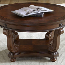 None - Liberty Victorian Dark Classic Cherry Round Cocktail Table - Trimmed with ornate scrolls,this round cocktail table lends Victorian charm to your living room. Cherry and mahogany finishes add warmth,and the table's built-in drawers give you discreet storage.