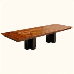 Solid Wood Double Pedestal Large Rectangular Dining Table w Extensions -