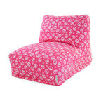Majestic Home - Indoor Hot Pink Peace Bean Bag Chair Lounger - What's so funny 'bout peace, love and relaxation? This laid-back beanbag lounger is comfy as can be, evokes a groovy vibe and is the ultimate in easy care. Just zip off the slipcover and toss it in the wash.