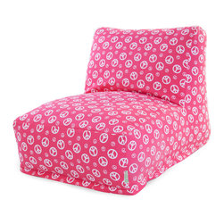 Majestic Home - Indoor Hot Pink Peace Beanbag Chair Lounger - What's so funny 'bout peace, love and relaxation? This laid-back beanbag lounger is comfy as can be, evokes a groovy vibe and is the ultimate in easy care. Just zip off the slipcover and toss it in the wash.
