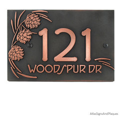 "Pine Cone Address Plaque 12"" x 8"" in Copper Patina - If you ever wished you were in the North Woods or Mountains, this plaque will grace your home and be one of the first things you and your guests see as they arrive. Featuring a pine cone and the greatly popular Frank Lloyd Wright (c) font this sign is your forest address plaque solution!"
