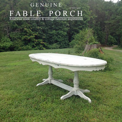 Country & Cottage Farmhouse Dining Tables - Our Hampton double pedestal dining table, 42 x 84, is finished in Ivory-Outer Banks Coastal with Summer distressing.