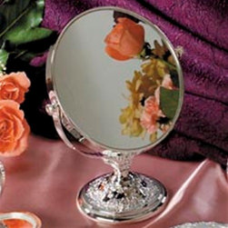 Godinger Silver - Round Vanity Mirror - Mom will know she looks terrific every time she looks in this mirror. Your loved one, will know she looks terrific every time she looks in this mirror. Great to display on your vanity set and get ready for some compliments. Makes an ideal Mother's Day gift. Dimensions: 6 x 3 x 8 inches.
