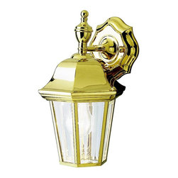 KICHLER - KICHLER 9409PB LifeBrite Transitional Outdoor Wall Sconce - his collection takes the classic lines of outdoor lanterns and dresses it up in style. Each piece in the collection features Kichler's exclusive LifeBrite Polished Solid Brass, which is guaranteed for a lifetime to look fantastic while being capable of withstanding the harshest elements no matter where you live. Clear beveled glass panels complete the outdoor lanterns' timeless profile. This 1-light hanging wall lantern uses a 100-watt (max.) bulb, and is U.L. listed for wet locations.
