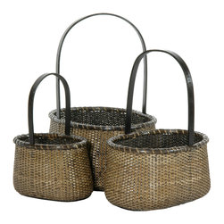 Oriental Furniture - Rattan Round Handle Basket ( Set of 3 ) - This is a delightful set of three small natural fiber baskets with classic flower basket handles. Sturdy, durable, and lightweight, they are crafted from tighlyt woven split vine rattan and finished with an antique stain. They are great for creative displays of food, flowers, or dry plants, hand towels or soaps, candy or fruit, and much more.