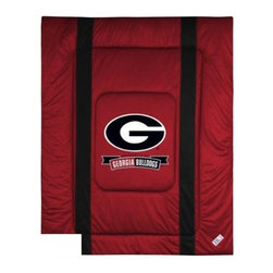 Sports Coverage - Georgia Bulldogs Bedding - NCAA Sidelines Comforter - Twin - Show your team spirit with this great looking officially licensed Georgia Bulldogs comforter which comes in new design with sidelines. This comforter is made from 100% Polyester Jersey Mesh - just like what the players wear. The fill is 100% Polyester batting for warmth and comfort. Featuring authentic Georgia Bulldogs team colors, each comforter has the authentic Georgia Bulldogs logo screen printed in the center. Soft but durable. Machine washable in cold water. Tumble dry in low heat. Covers are 100% Polyester Jersey top side and Poly/Cotton bottom side. Each comforter has the team logo centered on solid background in team colors. 5.5 oz. Bonded polyester batts. Looks and feels like a real jersey!