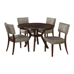 "Acme - 5-Piece Drake Espresso Finish Wood Cross Base Dining Table Set - 5-Piece Drake espresso finish wood cross base dining table set with fabric upholstered seat and back chairs. This set includes the table and 4 side chairs. Table features an espresso finish wood and the chairs have fabric upholstered seat and back. Table measures 48"" Dia. Chairs measure 36"" H to the back. Some assembly required."