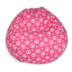 Majestic Home - Indoor Hot Pink Peace Small Beanbag - Groovy, baby! The classic beanbag takes on a positive pattern — such a nice addition to your favorite casual setting. It's bound to become the best seat in the house, but no worries, since it's so easy care: Simply zip off the durable cotton twill slipcover and toss in the wash.