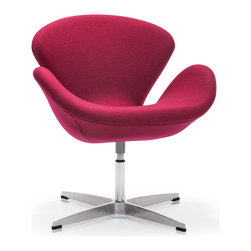 ZUO MODERN - Pori Arm Chair Carnelian Red - The Pori Chair takes its inspiration from modern European design and mixes it with American details such as the soft wool-like texture of the fabric and the vibrant color offerings.  The base is chrome with swivel.