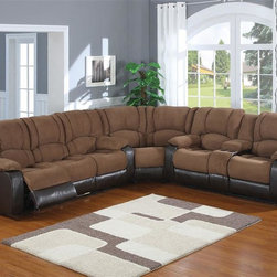 AC Pacific - Jagger Reclining Corner Sectional Set - This 3 piece sectional is definitely built for relaxation, with 4 power recliners and a console.. Also, covered with a heavy padded 100 % polyester. 100 % PU leather look on outside back and arms offers a touch of class. Power Reclining Sofa: 84 in. L x 39 in. W x 40 in. H. Power Reclining Loveseat: 74 in. L x 39 in. W x 40 in. H. Wedge: 71 in. L x 39 in. W x 40 in. H. Material: Faux Leather & Polyester. Color/Finish: Mocha