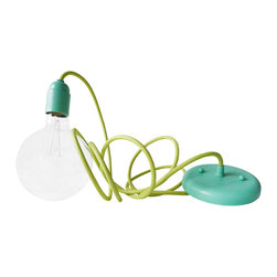 EarthSeaWarrior - Custom Pastel Blue Mint Pendant with Light Green Textile Cord - This round bulb beauty is turned into a unique light fixture featuring one of our exclusive textile cords with an amazing custom pastel blue mint pendant!