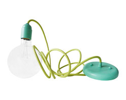 EarthSeaWarrior - Custom Pastel Blue Mint Pendant With Light Green Textile Cord - Designed for and Available Exclusively on Houzz!