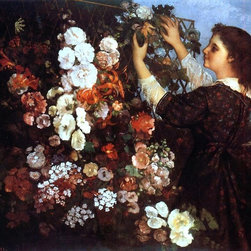 "Gustave Courbet The Trellis (also known as Young Woman Arranging Flowers) - 16"" - 16"" x 20"" Gustave Courbet The Trellis (also known as Young Woman Arranging Flowers) premium archival print reproduced to meet museum quality standards. Our museum quality archival prints are produced using high-precision print technology for a more accurate reproduction printed on high quality, heavyweight matte presentation paper with fade-resistant, archival inks. Our progressive business model allows us to offer works of art to you at the best wholesale pricing, significantly less than art gallery prices, affordable to all. This line of artwork is produced with extra white border space (if you choose to have it framed, for your framer to work with to frame properly or utilize a larger mat and/or frame).  We present a comprehensive collection of exceptional art reproductions byGustave Courbet."