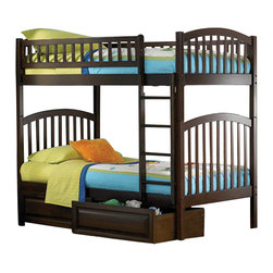Atlantic Furniture - Atlantic Furniture Richmond 3 Piece Bunk Bed Complete Bedroom Set - Atlantic Furniture - Bunk Bed Sets - RICHMONDBBPKG2 - Atlantic Furniture Richmond 3 Piece Bunk Bed Complete Bedroom Set