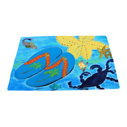 """xmarc - Beach Area Rugs, Flip Flops And Crab, 96""""W X 48""""Tall - Flip flops, crab and starfish beach plush area rug from my art."""