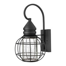 Hinkley Lighting - Hinkley Lighting 2254BK New Castle Outdoor - The New Castle collection gives this traditional lantern design a modern twist with a recessed light source inside a seedy glass cylinder. The solid aluminum construction in a durable powder coat Black finish is Dark Sky compliant.