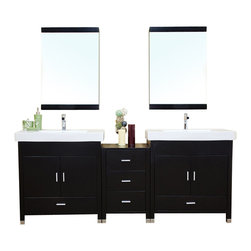 Bellaterra - 80.7 In Double Sink Vanity - Wood - Black - Satisfy your home design needs with this sleek espresso finished vanity offering a contemporary design and traditional features. Simple wood cabinet with rich black finish with two door panels mounted with soft closing hinges, added a wide drawer gives all the form and function of this modern vanity. Dimension: 80.7Wx18.9Dx33.5H * ** * Birch* Black* White Ceramic * White Ceramic Sink* Nickel finish hardware and *Chrome finish hardware & leg caps* Pre-drilled with 1 hole - One slot faucet, faucet and mirror not included* Slight assembly required. Dimensions: 80.7 in. x 18.9 in.