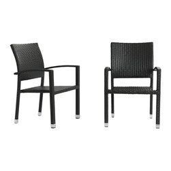 LexMod - Bella Dining Chair Outdoor Patio Set of 2 in Espresso - Relax in confidence, as you effortlessly unite diverse forces to take center stage. Wealth and success surround you and draw attention to greater heights.  This outdoor wicker dining chair has a sturdy aluminum frame covered with an espresso rattan weave.