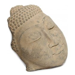 Oriental furnishings - Buddha Face Garden Accent - Ethereal Khmer Buddha Face Sculpture adds an element of serenity to your Outdoor Area, Garden or Indoor space.  Made from Crushed Basalt, this Oriental reproduction is weather-resistant for the outdoors and will also create serenity inside your home. This self standing Buddha Face makes a great housewarming present.