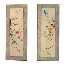 """Mid-Century Asian Bamboo Gold Panels - Set of 2 - Showoff this Pair Of 2 Vintage Mid-Century Asian Bamboo Gold Panels for your next get together. """"Oriental Floral"""" Turner Accessories is a paper covered wood - type panel board.  Height 24.75 X Width 9.75 One Panel Has Bottom Left Corner Chipped Off Doesn't Deter From Beauty"""