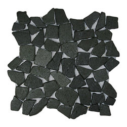 "CNK Tile - Glazed Black Mosaic Tile - Each pebble is carefully selected and hand-sorted according to color, size and shape in order to ensure the highest quality pebble tile available.  The stones are attached to a sturdy mesh backing using non-toxic, environmentally safe glue.  Because of the unique pattern in which our tile is created they fit together seamlessly when installed so you can't tell where one tile ends and the next begins!     Usage:    Shower floor, bathroom floor, general flooring, backsplashes, swimming pools, patios, fireplaces and more.  Interior & exterior. Commercial & residential.     Details:    Sheet Backing: Mesh   Sheet Dimensions: 12"" x 12""   Pebble size: Approx 3/4"" to 2 1/2""   Thickness: Approx 3/8""   Finish: Glazed Bali Black"