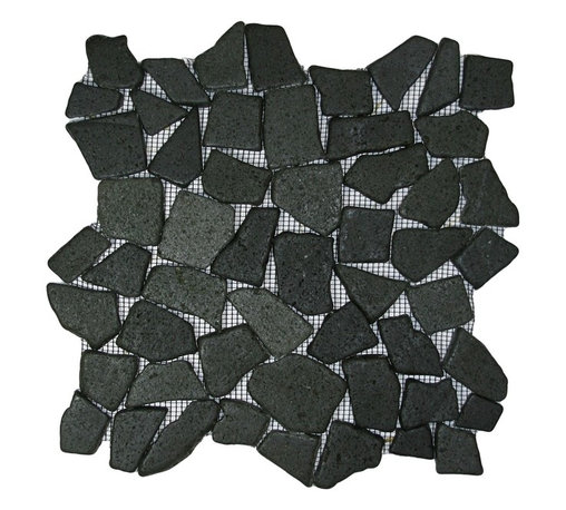 """CNK Tile - Glazed Black Mosaic Tile - Each pebble is carefully selected and hand-sorted according to color, size and shape in order to ensure the highest quality pebble tile available.  The stones are attached to a sturdy mesh backing using non-toxic, environmentally safe glue.  Because of the unique pattern in which our tile is created they fit together seamlessly when installed so you can't tell where one tile ends and the next begins!     Usage:    Shower floor, bathroom floor, general flooring, backsplashes, swimming pools, patios, fireplaces and more.  Interior & exterior. Commercial & residential.     Details:    Sheet Backing: Mesh   Sheet Dimensions: 12"""" x 12""""   Pebble size: Approx 3/4"""" to 2 1/2""""   Thickness: Approx 3/8""""   Finish: Glazed Bali Black"""