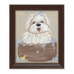 Doodlefish - Barks-n-Bubbles in Brown Frame - Who can resist a sheep dog in a bathtub? Bath-n-Bubbles is perfect for any boy or girl room. The bathtub, bubbles and rubber duck also make this a great addition for a Jack and Jill bathroom or even a mud room. The artwork is a framed 11x14 - finished size 15x18