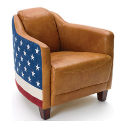 Bipartisan Chair - Add a classic touch to your living area with this Country Chic Bipartisan Chair. This chair is designed from quality leather with ultra-suede of brown shade which is giving it more of baseball glove style look. The patriotic finish given to this chair embellishes it even more. If you are a sports lover, this is simply great to reflect your passion and love. Showcase your modern lifestyle with this chic bipartisan chair. Every time you watch the baseball match, enjoy that time with full comfort of this chair. This chair is long lasting due to the leather used and will gel easily with any kind of home decor.