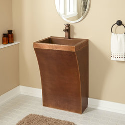 Curved Hammered Copper Pedestal Sink - Ideal for a contemporary bathroom, this pedestal sink is made of solid copper and features a sleek, curved shape with a beautifully hammered texture. Pair with your favorite single hole or wall-mount faucet to complete the look.