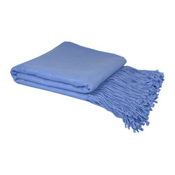 "Pur by Pur Cashmere - Signature Blend Throw Periwinkle 50""x65"" With 6"" Fringe - Bamboo velvet throw. 100%  bamboo.  Dry clean only. Inner mongolia."