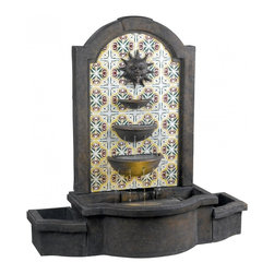 Kenroy Home - Kenroy Home Cascada Floor Fountain Madrid Finish, Patterned Tile Motif - 50721MD - Twelve streams of water trickle down the 3-tiered bowls of Cascada making for wonderful water sounds. This traditional tile motif honors the sun on a Granada inspired background.