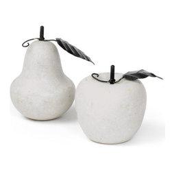 Go Home Ltd - Go Home Ltd Antique Marble Pear & Apple Set X-61031 - Go Home Ltd Antique Marble Pear & Apple Set X-61031