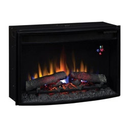 Classic Flame 25 in. Curved Electric Fireplace Insert with Backlit Display - If cozy nights by the fireplace rank high on your list of favorite things, the Classic Flame 25 in. Curved Electric Fireplace Insert with Backlit Display just might rank higher. With a curved bow front design, this fireplace insert runs on all-LED technology, which means maximum heat with minimum power bills. The heater blower heats up to 400 square feet, and you won't even need vents or gas lines. A digital thermostat, five flame brightness settings, and an electronic timer with auto-shutoff from 30 minutes to nine hours all give you total control, and there's even an included remote. The lifelike logs and embers can be used with or without the heat.Twin Star products include a 1-year limited warranty, guaranteeing workmanship and material quality for 1 year from the date of purchase, assuming normal use. Please contact Twin Star at 866-661-1218 or our Customer Care Center for service issues and questions regarding product guarantee.