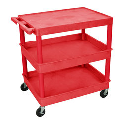 """Luxor - Luxor Tub Cart - RDTC211RD - These Luxor TC series utility carts are made of high density polyethylene structural foam molded plastic shelves and legs that won't stain, scratch, dent or rust. Features a retaining lip around the back and sides of flat shelves. Includes four heavy duty 4"""" casters, two with brake. Has a push handle molded into the top shelf."""