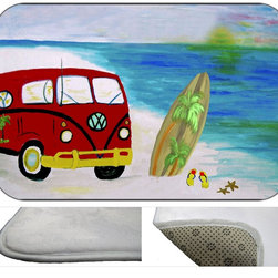 Beach Bus Bath Mat, 20X15 - Bath mats from my original art and designs. Super soft plush fabric with a non skid backing. Eco friendly water base dyes that will not fade or alter the texture of the fabric. Washable 100 % polyester and mold resistant. Great for the bath room or anywhere in the home. At  1/2 inch thick our mats are softer and more plush than the typical comfort mats.Your toes will love you.