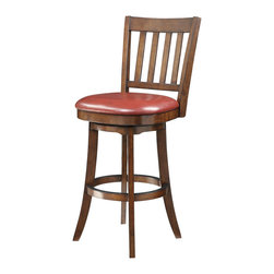 "Office Star - Office Star Mission Bar Stool In Crimson Red Eco Leather - Mission Bar Stool In Crimson Red Eco Leather by Office Star The Mission Bar Stool is perfectly suited for those lazy Sunday mornings chatting over coffee or a bustling weekday breakfast for the active family. The bonded leather seat cushion in either ��_��_��_��_��_Espresso��_��_��_��_��_, ��_��_��_��_��_Crimson��_��_��_��_��_ or ��_��_��_��_��_Cream��_��_��_��_��_ add comfort while the metal coated foot rail keeps this swiveling bar stool scuff free. The elegantly flared legs and a vertically slatted back showcase the rich ��_��_��_��_��_Sumatra��_��_��_��_��_ finish. The timeless fashion of the Mission Bar Stool offers exceptional versatility that pairs beautifully with any home decor. Mission 30"" bar stool with Sumatra solid wood frame, legs and back and upholstered Crimson red eco leather seat cushion. Features include a full bearing swivel mechanism, metal scuff rail guard and easy 2-piece assembly."