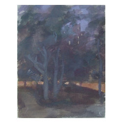 The Park At Night, Original, Painting - Take a quiet midnight stroll through Central Park. Matthew Greenway's dreamy painting is all soft, shadowy shapes and amber street light reflections — you can almost hear the trees whispering to each other. This one-of-a-kind original comes  signed by the artist.