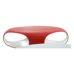 Bonaldo - Pebble Coffee Table, Red/White - A skilful balance of blocks and voids with painstaking care for details, shapes, materials and colours. The Pebble coffee table is made of matt coloured polyethylene. The openings in the coffee table frame emphasize its roundness and provide a practical storage solution. Pebble is resistant to atmospheric agents and can also be used outdoors. It is available in a variety of exterior/interior colour combinations: white/white, white/grey, white/ powder blue,  and red/white.