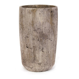 None - Tall Tan Striated Modern Concrete Planter - Add modern flair to your indoor space with this 13-inch tall planter. Perfect for displaying succulents,herbs and other indoor plants,this distressed planter features a tan finish and subtle striation pattern.