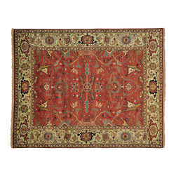 """Oriental Rug Galaxy - 8'1"""" x 10'2"""" Handmade Antiqued Heriz All Over Design Oriental Rug 100% Wool - Our Tribal & Geometric hand knotted rug collection, consists of classic rugs woven with geometric patterns based on traditional tribal motifs. You will find Kazak rugs and flat-woven Kilims with centuries-old classic Turkish, Persian, Caucasian and Armenian patterns. The collection also includes the antique, finely-woven Serapi Heriz, the Mamluk, Afghan, and the traditional handmade village Persian rugs."""