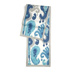 Blue & Aqua Ikat Custom Table Runner - Set a table for a king! or just your family and friends!! with our gorgeous Tailored Table Runner. Solid edging adds a touch of refinement, perfectly setting off the center fabric. We love it in this oversized outdoor ikat that will make a big (literally!) splash in clean, bright shades of blue, aqua and gray.