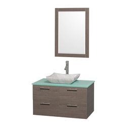 Wyndham Collection - 2-Door Modern Wall Mounted Vanity Set - Includes mirror, drain assemblies and P-traps for easy assembly. Faucet not included. Modern clean lines. Eight stage preparation. Veneering and finishing process. Highly water resistant low V.O.C. sealed finish. Unique and striking contemporary design. Deep doweled drawers. Fully extending soft close drawer slides. Soft close door hinges. Single hole faucet mount. Two functional drawers. Plenty of storage space. Green glass top. Carrera marble sink. Engineered for durability and to prevent warping and last for lifetime. 0.75 in. thickness mirror. Made from highest quality grade E1 MDF. Metal exterior hardware with brushed chrome finish. Grey finish. Minimal assembly required. Mirror: 23.75 in. W x 33 in. H. Vanity: 36 in. W x 21.5 in. D x 20.25 in. H. Care Instructions. Assembly Instructions - Sink. Assembly Instructions - MirrorTruly elegant design aesthetic meet affordability in the Wyndham Collection Amare Vanity. The attention to detail on this elegant contemporary vanity is unrivalled.