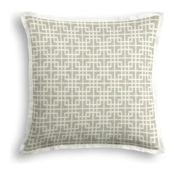 Gray Woven Square Lattice Tailored Pillow - The Tailored Throw Pillow is an updated, contemporary pillow style with the center fabric framed by a thin contrast flange.  Voila! -it's artwork for your couch!  We love it in this interlocking square trellis woven in pale silvery gray & white. equal parts plush & posh.