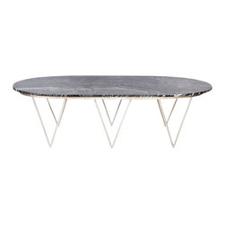 Worlds Away - Worlds Away Silver Leafed Coffee Table with Black Marble Top SURF SB - Oval hairpin coffee table in champagne silver leaf with black marble top.
