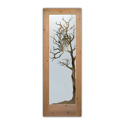 """Interior Glass Doors - Winter Tree Negative - CUSTOMIZE YOUR INTERIOR GLASS DOOR!  Interior glass doors ship for just $99 to most states, $159 to some East coast regions, custom packed and fully insured with a 1-4 day transit time.  Available any size, as interior door glass insert only or pre-installed in an interior door frame, with 8 wood types available.  ETA will vary 3-8 weeks depending on glass & door type.........Block the view, but brighten the look with a beautiful interior glass door featuring a custom frosted glass design by Sans Soucie!   Select from dozens of sandblast etched obscure glass designs!  Sans Soucie creates their interior glass door designs thru sandblasting the glass in different ways which create not only different levels of privacy, but different levels in price.  Bathroom doors, laundry room doors and glass pantry doors with frosted glass designs by Sans Soucie become the conversation piece of any room.   Choose from the highest quality and largest selection of frosted decorative glass interior doors available anywhere!   The """"same design, done different"""" - with no limit to design, there's something for every decor, regardless of style.  Inside our fun, easy to use online Glass and Door Designer at sanssoucie.com, you'll get instant pricing on everything as YOU customize your door and the glass, just the way YOU want it, to compliment and coordinate with your decor.   When you're all finished designing, you can place your order right there online!  Glass and doors ship worldwide, custom packed in-house, fully insured via UPS Freight.   Glass is sandblast frosted or etched and bathroom door designs are available in 3 effects:   Solid frost, 2D surface etched or 3D carved. Visit our site to learn more!"""